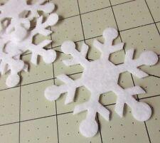 """12 White 3"""" Snowflake Wool Blend Felt Die Cut"""