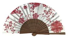 Hand Fan Made In Portugal Red Embroidered Floral Theme