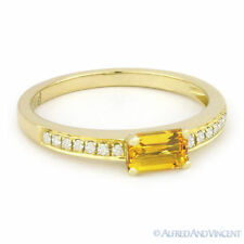 0.59 ct Baguette Cut Citrine Gemstone Round Diamond 14k Yellow Gold Promise Ring