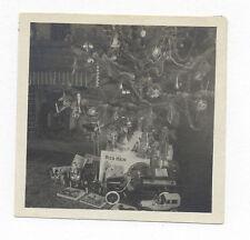 C. 1922 PHOTO CHRISTMAS TREE, GERMAN TIN TOY LIMO, WILKINS PUMPER, BALKING MULE