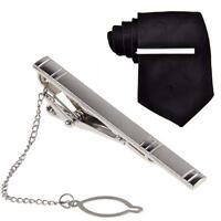 Stylish Simple Silver Tone Men Metal Necktie Tie Bar Clasp Clip Clamp Pin UK.