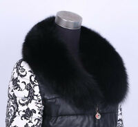 Black Real Genuine Big Farm Fox Fur Collar Scarf Wrap Shawl Neck Cape 90/100cm