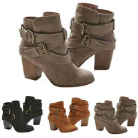 USA Women's Block High Heel Short Ankle Boots Casual Buckle Martin Booties Shoes