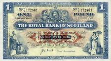 Scotland Royal Bank P-322 1 pound 1952 VF
