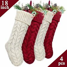 "18"" Large Size Cable Knit Knitted Christmas Xmas Stockings Stocking Decorations"