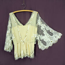 Temperley 10 US/ 14 UK Cream Silk Blouse White Mesh Floral Lace Gold Sequins M