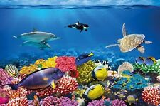 Wallpaper Undersea Coral Reef Photo Aquarium Fish Sea Mural Large Sea Blue NEW