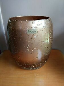 NICOLE MILLER NY Clear Lucite Gold Leaf  Fleck Acrylic Waste Basket Trash Can