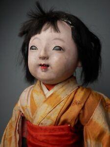 JAPANESE ANTIQUE C1850 LARGE ICHIMATSU DAKI NINGYO GIRL DOLL KIMONO GOFUN OBI NR