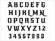 GOTHIC Alphabet Stencil 1 Inch Dark Style Devil Evil Font Set Letters Sheet S578
