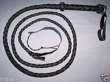 8 foot 4 plait Black INDIANA JONES Real Leather BULLWHIP BULL WHIP w popper