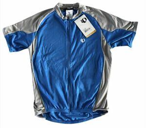 Men's PEARL IZUMI Slice Jersey Cycling Shirt Blue Gray Full Zip Pockets NWT $60
