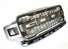 For 18-19 Ford F150 Raptor Style Conversion Front Bumper Grey Mess Grille W/LED