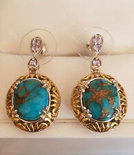 MOJAVE BLUE TURQUOISE 9.42 CT, TANZANITE EARRINGS, 14K GLD, PLATINUM OVER SILVER