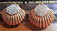 Antique Vintage Yellow Gold GT Rhinestone Lot of 2 Shell Shaped Pieces #P520