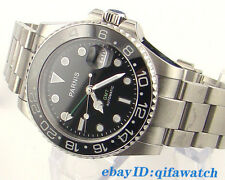 40mm Parnis Sapphire Glass Black Dial Ceramic Bezel GMT Automatic Mens Watch 962