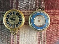 Two Vintage Lucerne Swiss Made enamel golden metal watch pendant for repair .