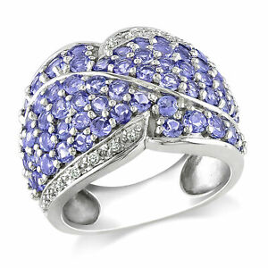 Amour Sterling Silver Tanzanite and Diamond Ring