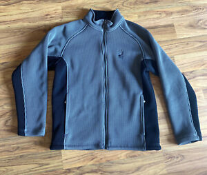 SPYDER Mens Gray Black Thick Winter CORE SWEATER Zip-Up Jacket Size Large