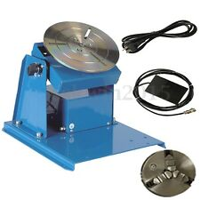 220V 2-20RPM Rotary Welding Positioner Turntable Table 3 Jaw Lathe Chuck + Pedal