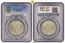 PCGS AU-55 1966 Round 50c Uncirculated 80% Silver, Stunning Quality✅