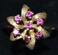 Nice Women's 10K Yellow Gold 5 Purple Rubys (?) Cluster Ring Size 6.5 3.4 Gram