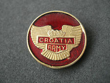 Croatia Army, rare wartime badge, red; military, Homeland war, 1990 - 1992