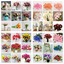 Artificial Silk Bridal Fake Flowers Leaf Wedding Bouquet Party Garden Home Decor