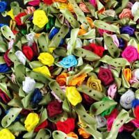 150 Random Mix Card Toppers  Satin Roses Rose Buds Rosebuds Flowers Decoration