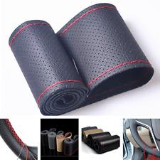 Black DIY Genuine Cowhide Car Braid Leather Steering Wheel Cover 38 CM Universal