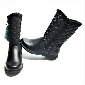 Totes Women 7M Quilted Snow Boots Black Waterproof Faux Fur Vegan NEW