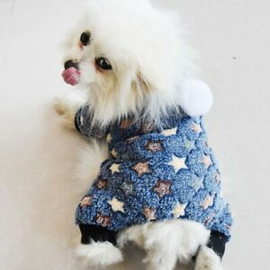 Pets Winter Warm Coral Velvet Thickened Clothes Dogs Puppy 4 Legged Hooded Coat