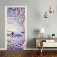 Self adhesive Door Wall wrap removable Peel & Stick Decal People Skier