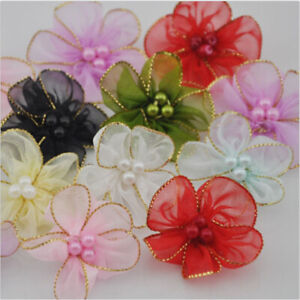 10-80PCS Pearl Satin Ribbon Flower with Crystal Bead Appliques~Craft/Trim