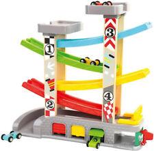 Kinder Autorennbahn 4 Garagen Holzautos Zapfsäule Autobahn Spielzeug Kügelbahn