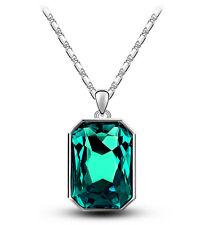 Smaragd Kristallgrün & Silber rechteckig Anhänger Kristall Halsband N365