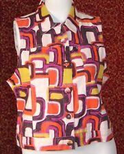 WESTBOUND orange geometric cotton sleeveless vest XL (T37-02I8G)