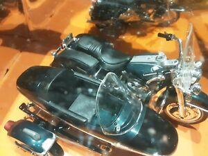 moto sidecar harley davidson bleu metal 1/18 maisto