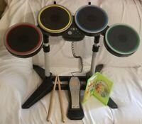 Harmonix Rockband Wireless Drum Set Xbox 360 With Pedal & Sticks + Bandhero Game