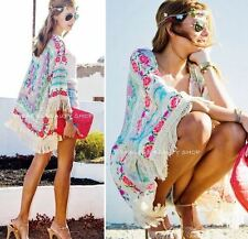 Floral & Lace Kimono Cardigan forever 21 style Boho Chic Blouse Duster in L 12