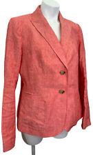 New TALBOTS 100% Linen Blazer Jacket Sz 10 M Medium Coral Lined NWOT