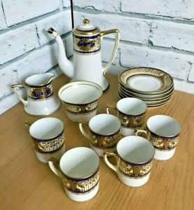 Stunning Hand Painted Noritake Coffee Set White with Blue & Gold Design 1911