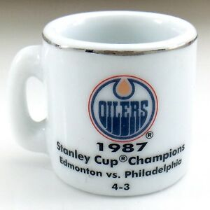 1987 NHL Edmonton Oilers Stanley Cup Champions Mini Cup Crazy 1 inch Mug I564