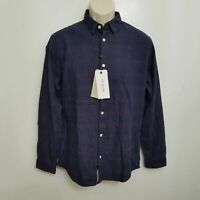 Selected Homme Mens Slim Fit Button Up Shirt Medium Blue Plaid Cotton L/S