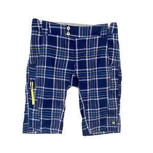 Columbia Women's Omni Shade Plaid Golf Bermuda Shorts Sz 2 12L Blue Pockets S