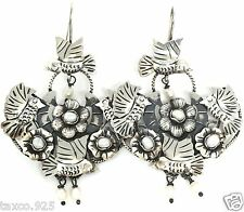 KAHLO STYLE TAXCO MEXICAN 925 STERLING SILVER PEARL BEAD BIRD EARRINGS MEXICO