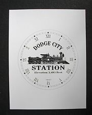 "(008) Clock Face Railroad Dodge City Station At&Sf Steam Engine Train 6.5"" Dial"