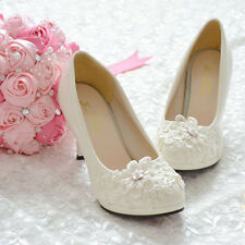 Handmade Pearl White Lace Flowers Bride Wedding Shoe High Heels Flat Fit