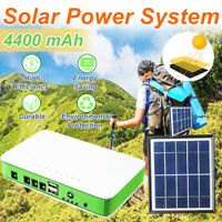 Solar System Generator Panel Power Storage Charger Outdoor+2 LED Bulb Lamp Light