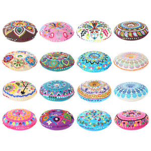 "24"" Round Embroidered Colorful Floor Pillow Cushion Cover Meditation Seating Thr"